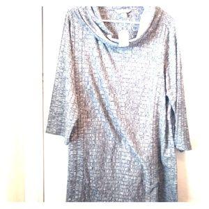 CJ Banks Tunic Sweater Size 1X Gray 3/4 Sleeves